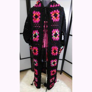 Granny Square Hooded Black Sweater Coat Lrg